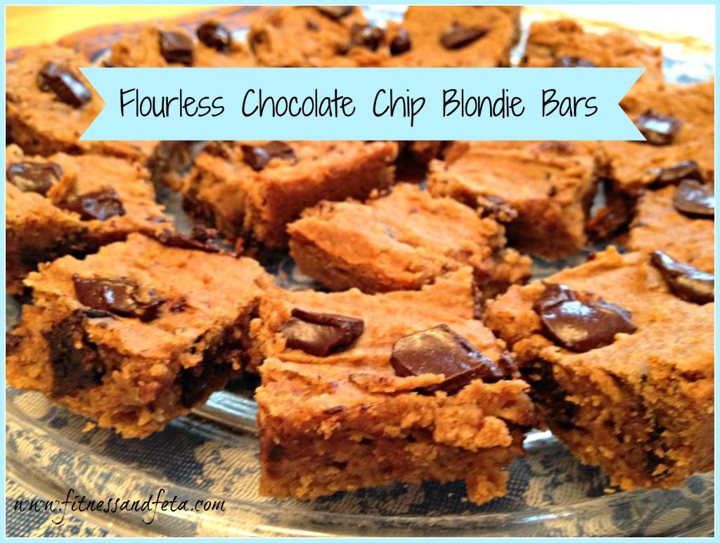 Flourless Chocolate Chip Blondie Bars