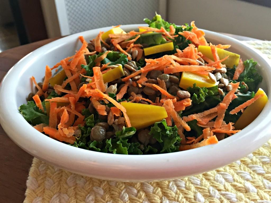 Green lentil and golden beet kale salad