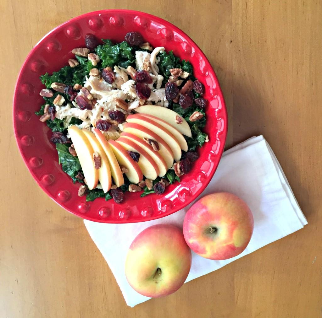 Autumn Kale Salad with Honey Apple Vinaigrette