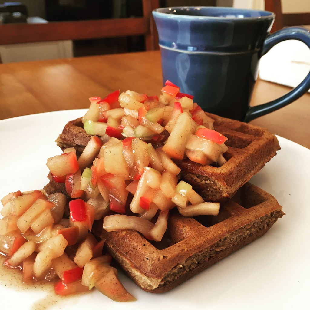Grain Free Waffles with Apple Topping