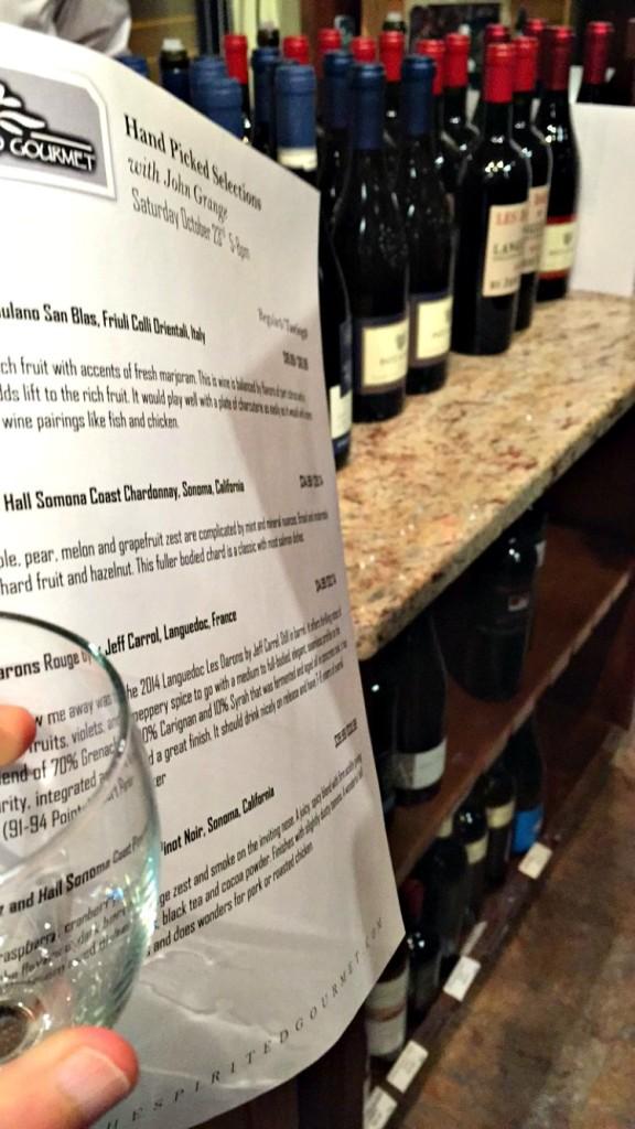Wine tasting at Spirited Gourmet